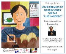 La entrega de los Premios Luis Landero se realizará el próximo 23 de marzo.