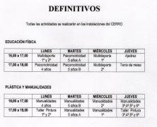 HORARIO ACTIVIDADES AFC
