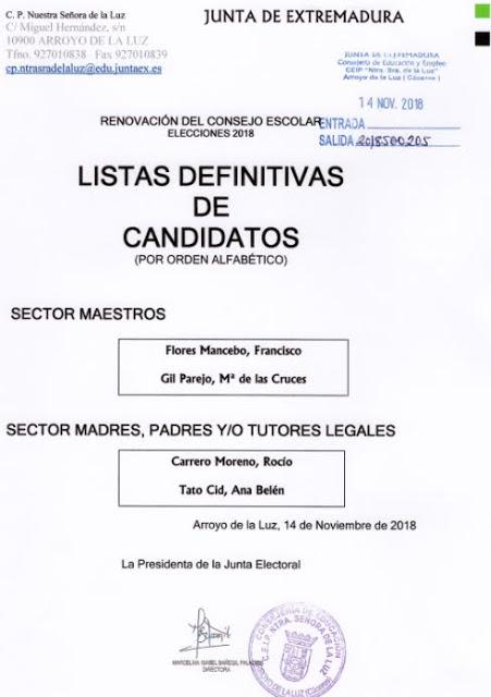 RENOVACIÓN DEL CONSEJO ESCOLAR. ELECCIONES 2018