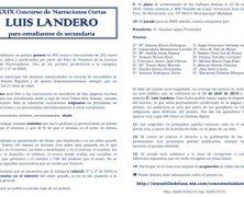 """XXIX Concurso de Narraciones Cortas """"LUIS LANDERO"""""""