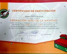 AGRADECIMIENTO POR PARTICIPAR EN OPERACIÓN NIÑO DE LA NAVIDAD.