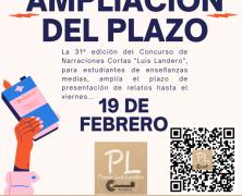 Ampliación del plazo de presentación de relatos del concurso «Luis Landero»