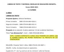 LA CUMBRE. LIBROS DE TEXTO PARA EL CURSO 2020-2021